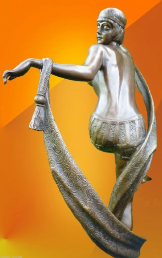 "ART DECO, Signed ""The Scarf Dance "", BRONZE STATUE"